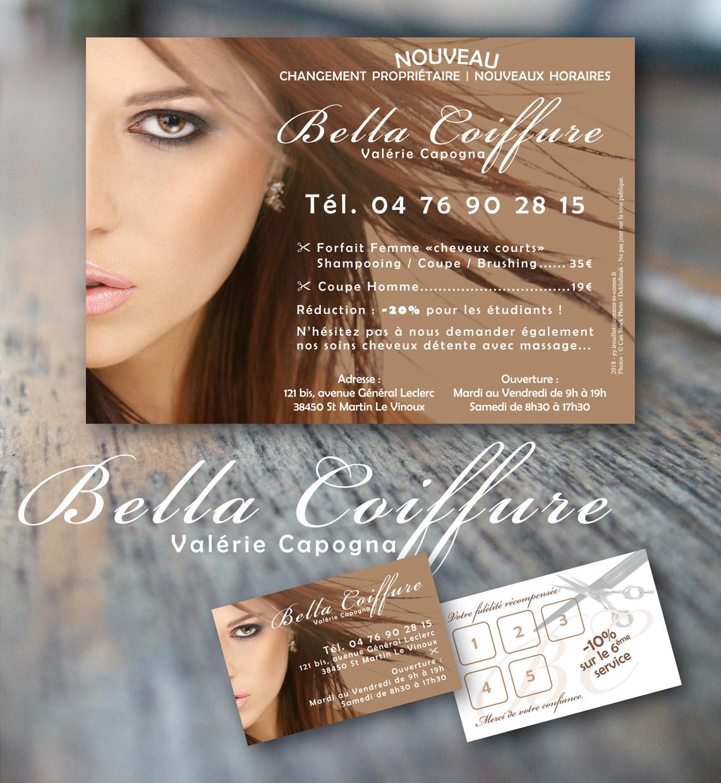 <strong>Bella Coiffure :</strong> Flyers, Carte de fidélité.