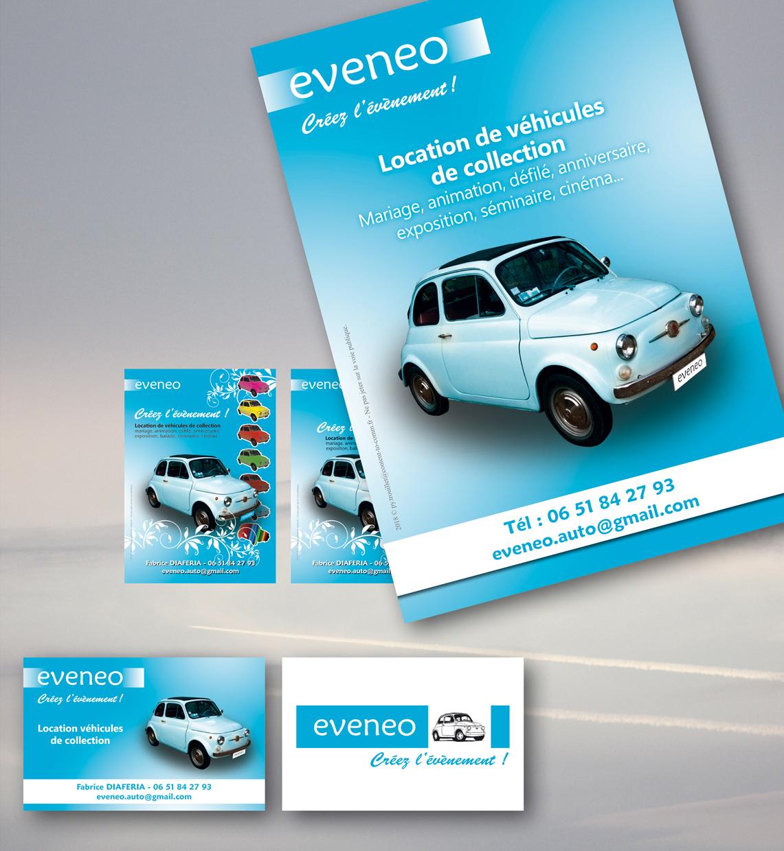 <strong>Eveneo :</strong> Location de véhicule de collection. Flyers et carte de visite.