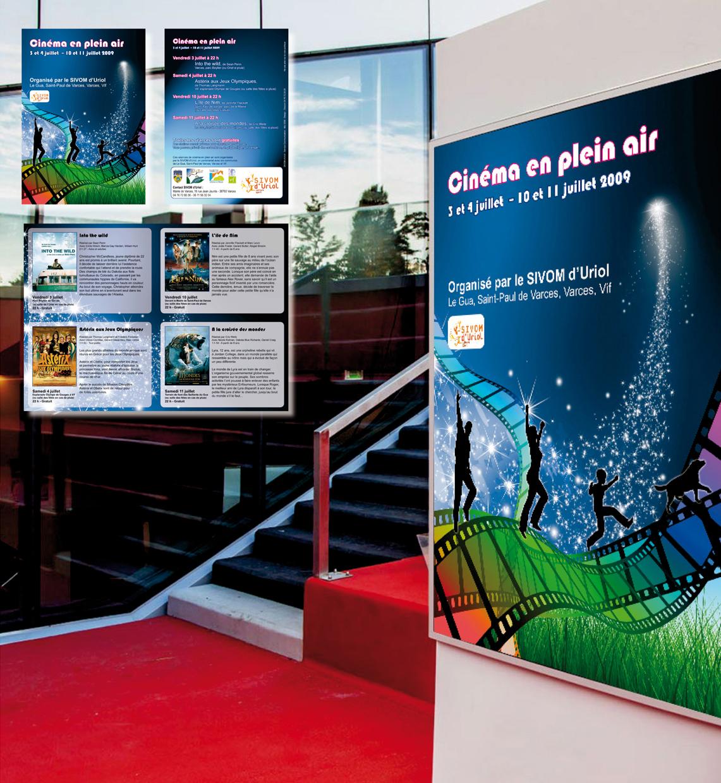 <strong>Sivom d'Uriol :</strong> Cinéma en plein air. Affiche et dépliant. Programme des séances.