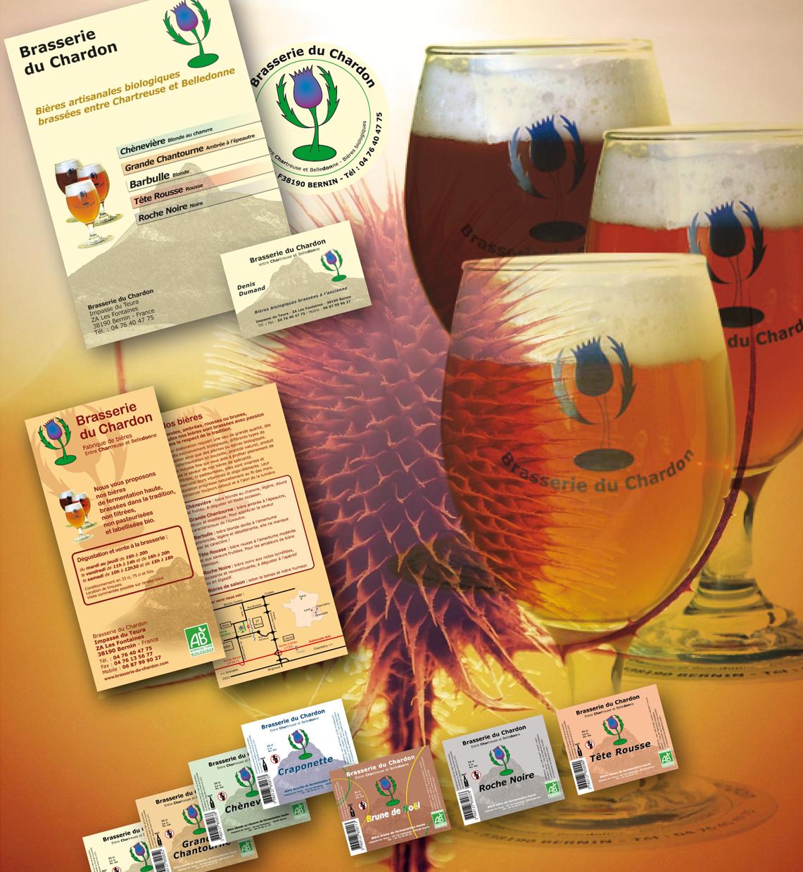 <strong>Brasserie du Chardon :</strong> Outils de communication... Etiquettes de bouteilles, sous-verre, dépliants, affiches, cartes de visite, sérigraphie verres...