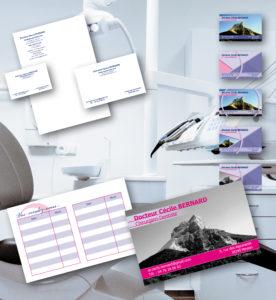 <strong>Dr Bernard - Chirurgien Dentiste :</strong> Carte de visite / rdv, papeterie, plaquette, ordonnancier.