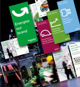 <strong>Schneider Electric - Communication :</strong> Concepts visuels créés ou adaptés pour salons ou séminaires... Panneaux, posters, Kakemonos...