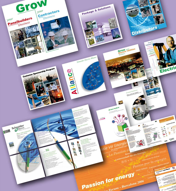 <strong>Schneider Electric - Communication :</strong> Concepts visuels créés ou adaptés pour salons ou séminaires... Panneaux, posters, flyers, dépliants...