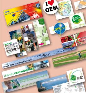 <strong>Schneider Electric - Communication :</strong> Visuels réalisés pour sites Intranet, présentations Power Point, séminaires internes, logo de projets ou services, bandeaux publicitaires, sérigraphie d'objets publicitaires...