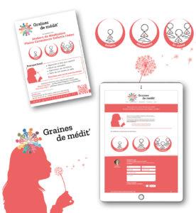 <strong>Graines de médit'</strong> : Flyer / Illustrations et Logos / Site Web : www.grainesdemedit.fr