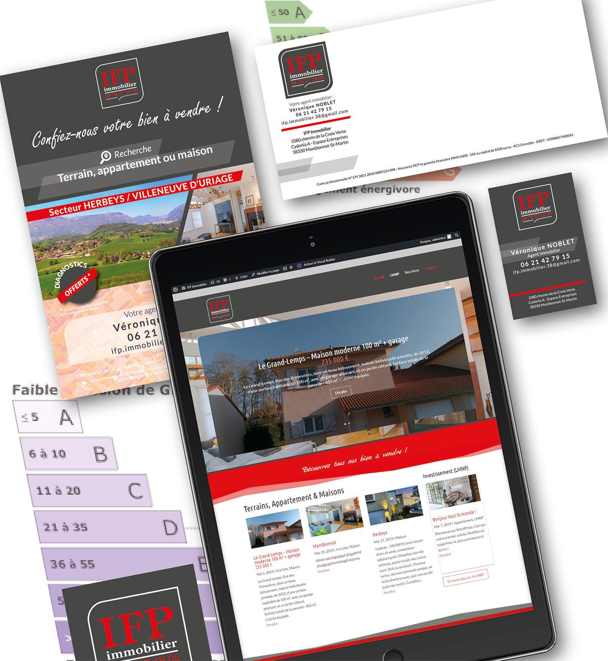 <strong>IFP Immobilier</strong> : Documents administratifs, Cartes de visite et correspondance, Site Web